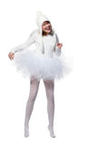 Laughing teenage girl in costume of white angel Stock Photo