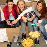 Laughing teenage girls playing with video game. With consoles Royalty Free Stock Photos