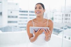 Laughing toned brunette holding tablet Stock Photo