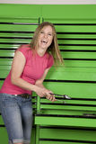 Laughing at tools Stock Photos