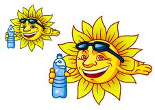Laughing tropical sun with bottled water Stock Photos