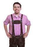 Laughing visitor of the bavarian Oktoberfest Stock Images