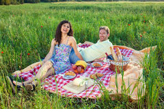 Laughing vivacious couple on a summer picnic. Sitting on a red and white checked rug in a country field enjoying the warm sunshine and freedom of nature Royalty Free Stock Photos