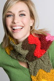 Laughing Winter Woman Stock Photo