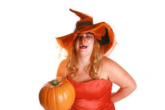 Laughing witch. A crazy looking halloween witch laughing and holding a  pumpkin Royalty Free Stock Image