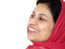 Laughing woman. A happy asian woman with red scarf laughing stock image