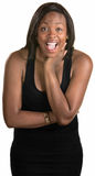 Laughing Woman. Laughing adult Black woman over isolated background Stock Photos