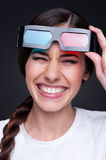 Laughing woman with 3d glasses Stock Image