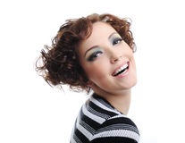 Laughing woman. Portrait of laughing young adult woman - white background Stock Photo