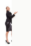 Laughing woman and the banner Royalty Free Stock Photo