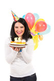 Laughing woman with birthday cake Stock Photos
