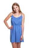 Laughing woman in a blue summer dress Stock Images