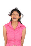 Laughing woman with the book Royalty Free Stock Image