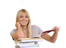 Laughing woman with books Stock Photo