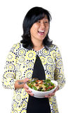 Laughing Woman With Bowl Of Pasta Salad Royalty Free Stock Photos