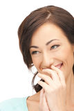 Laughing woman. Bright closeup picture of beautiful laughing woman royalty free stock photography