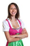 Laughing woman with brown hair from Bavaria loves  Stock Photo