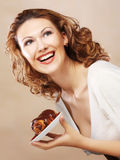 Laughing woman with cake Royalty Free Stock Photo