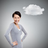 Laughing woman with cloud Stock Image