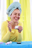Laughing woman with cold cream Stock Photo