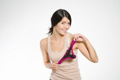 Laughing woman displaying sexy lacy panties Royalty Free Stock Photo