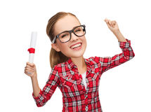Laughing woman in eyeglasses with diploma Royalty Free Stock Photos