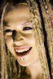 Laughing Woman with Face Piercings Royalty Free Stock Photography
