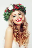 Laughing Woman Fashion Model with Blonde Hair and Makeup Royalty Free Stock Photos