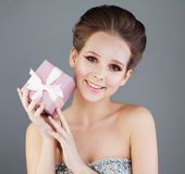 Laughing Woman Fashion Model with Makeup Stock Photos