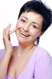 Laughing woman with good condition of skin royalty free stock photos