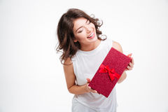 Laughing woman holding gift box Royalty Free Stock Photo