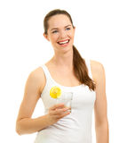 Laughing woman holding glass of water Stock Photo