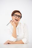 Laughing woman looking up into the air Stock Photos