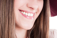 Laughing woman mouth with perfect teeth and bright smile. In close up as dental healthcare concept Royalty Free Stock Images