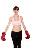 Laughing Woman In Outsize Boxing Gloves Stock Image