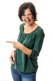 Laughing woman pointing Stock Images