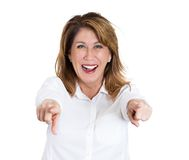 Laughing woman pointing Stock Photo