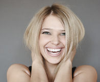 Laughing woman. Portrait of young laughing woman Royalty Free Stock Photo