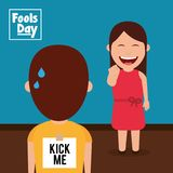 Laughing woman prank a man kick me paper in back fools day. Vector illustration Royalty Free Stock Photo