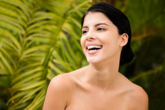 Laughing woman preparing herself for spa day Stock Photography