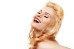 Laughing woman with red lips & healthy shiny hair Stock Photography