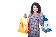 Laughing woman with shopping bags Royalty Free Stock Photos