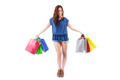 Laughing woman with shopping bags Royalty Free Stock Image