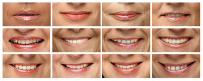 Twelve laughing woman. Smiles of women of different age Stock Photography