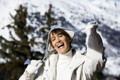 Laughing Woman in the snow Royalty Free Stock Photo