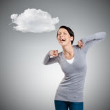 Laughing woman stretches herself Stock Images