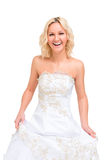 Laughing woman in a wedding dress. Posing royalty free stock photos
