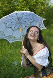Laughing woman with white umbrella Royalty Free Stock Photos