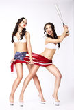 Laughing Women with American Flag and Baseball Bat