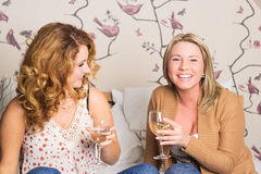 Laughing women clinking glasses royalty free stock photo
